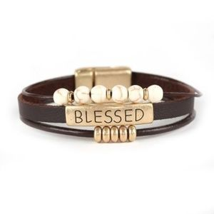 "Jewelry - ""BLESSED"" Leather  3 Layered Magnetic Bracelet"